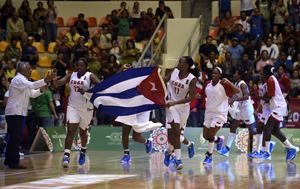Members of national basketball team from Cuba celebrate after wi