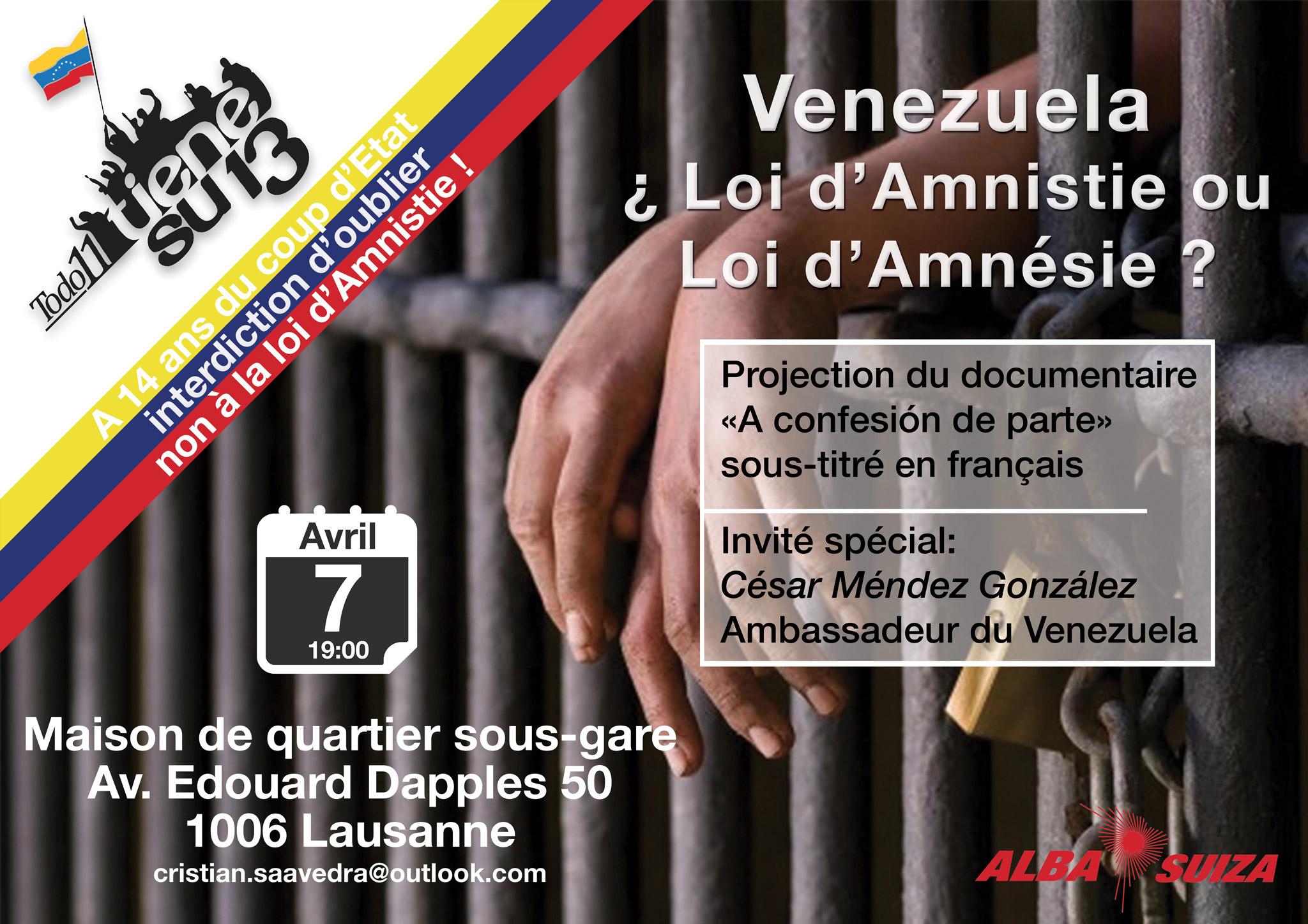 7 avril ALBA Suiza - Loi d'Amnistie au Venezuela